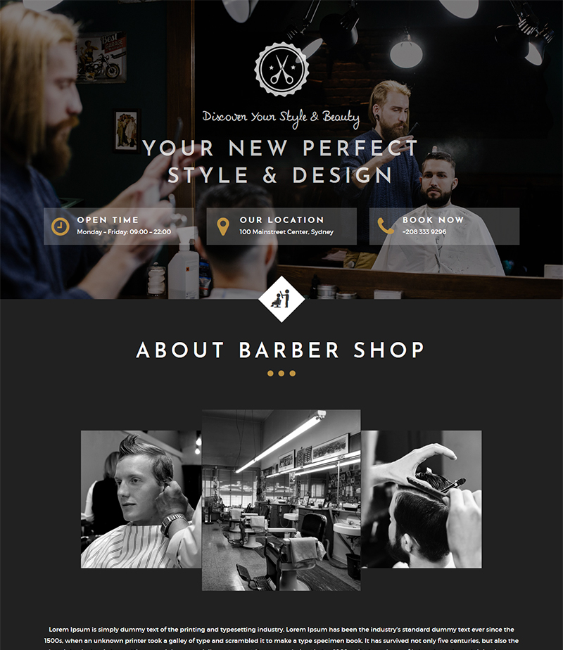 barbershop and hair salon html webtemplate free