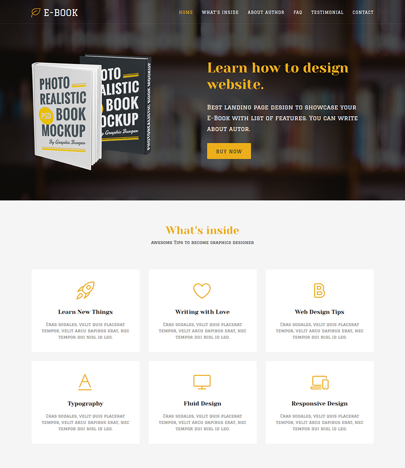 Ebook - Landing Page HTML Template