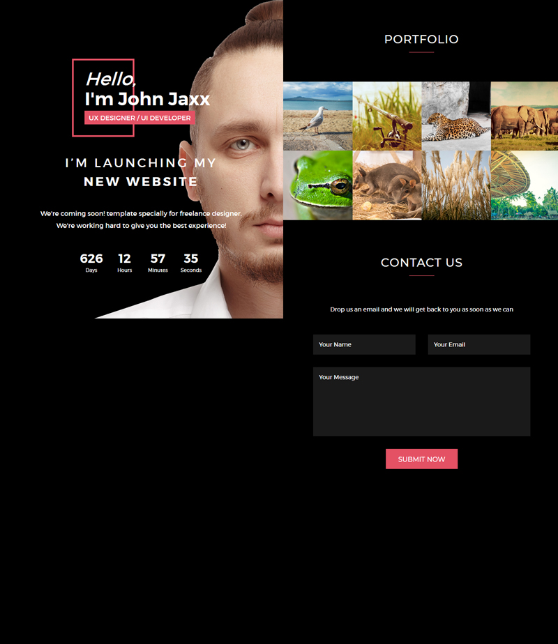 freelancer responsive coming soon page template using bootstrap