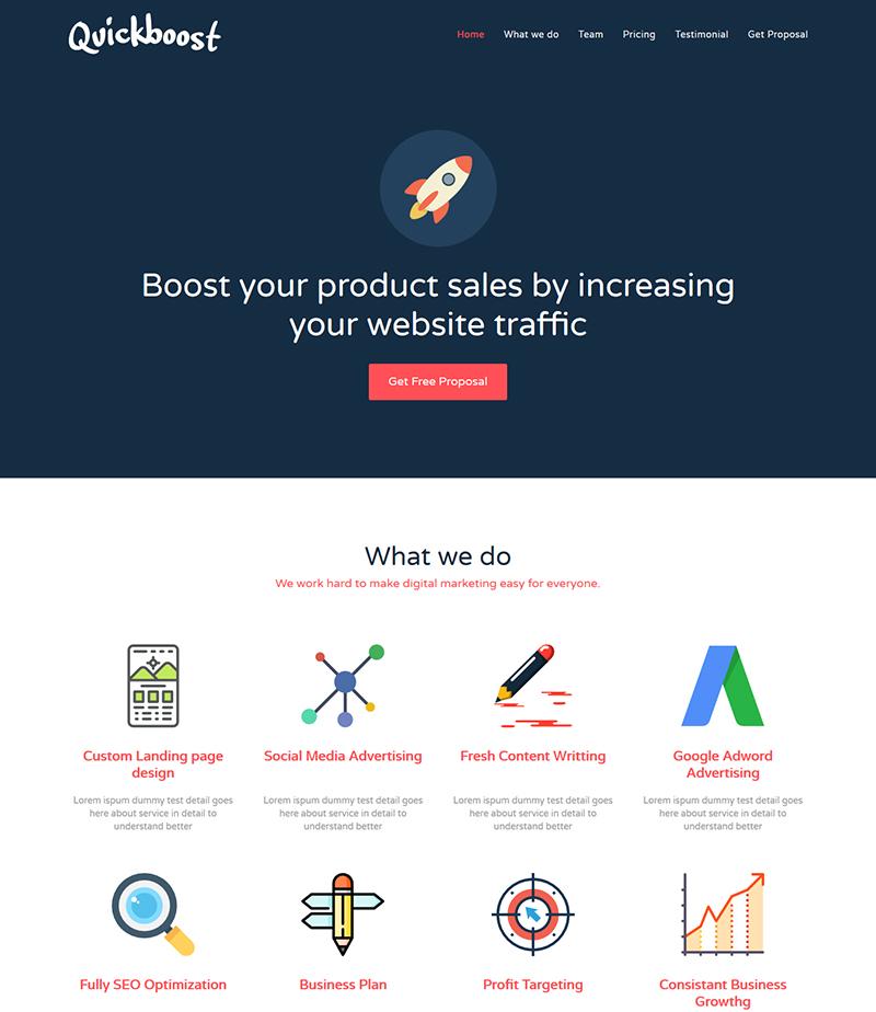 Quickboost - Digital Marketing Agency Business Website Template