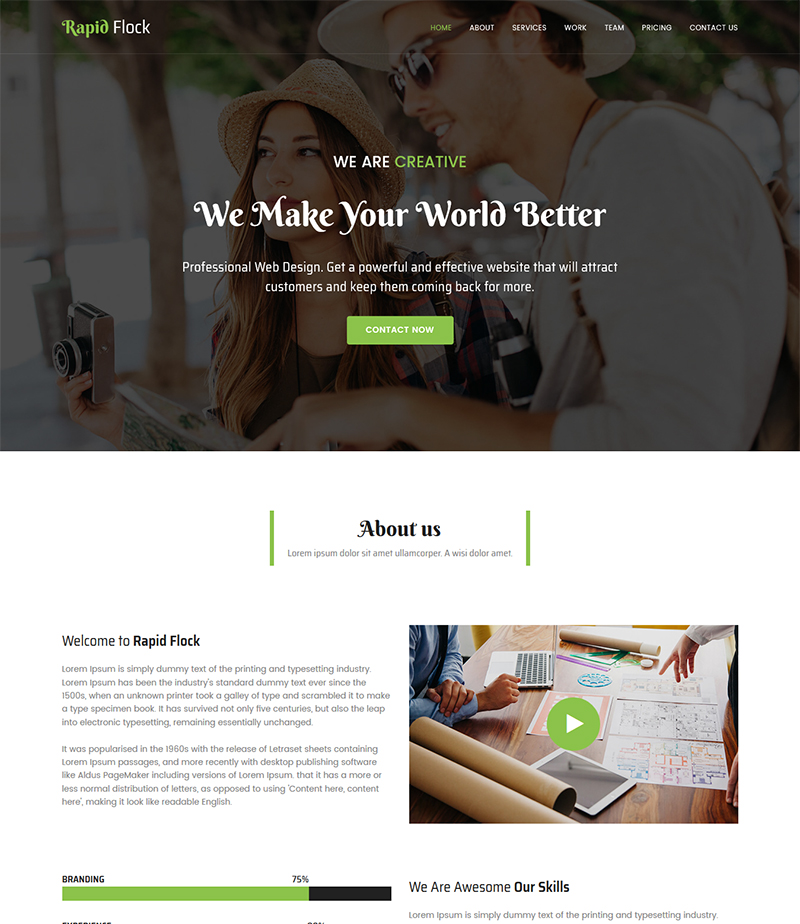 Rapid Flock Agency Landing Page HTML Bootstrap Responsive Template - Landing page html template