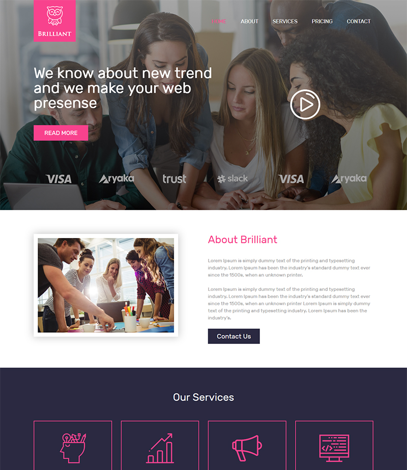 Brilliant responsive agency business html template wajeb Image collections